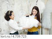 Купить «Две счастливые женщины выбирают платье в свадебном салоне», фото № 4739723, снято 19 декабря 2012 г. (c) Яков Филимонов / Фотобанк Лори