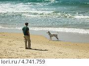 Купить «Мужчина и собака на пляже в Тель-Авиве», эксклюзивное фото № 4741759, снято 27 февраля 2012 г. (c) Gagara / Фотобанк Лори