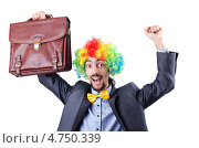 Купить «Бизнесмен с портфелем в образе клоуна», фото № 4750339, снято 18 октября 2011 г. (c) Elnur / Фотобанк Лори