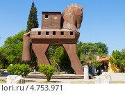 Купить «Турция, Троя, деревянный макет троянского коня в ясный солнечный летний день», эксклюзивное фото № 4753971, снято 6 мая 2012 г. (c) Дарья Родоманова (Проскурина) / Фотобанк Лори