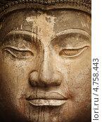 Купить «Древний каменный Будда, лицо крупным планом», фото № 4758443, снято 8 сентября 2012 г. (c) pzAxe / Фотобанк Лори