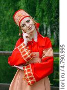 Купить «Девушка в русском народном костюме», фото № 4790995, снято 23 июня 2013 г. (c) ElenArt / Фотобанк Лори