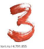 Цифра 3, выполненная мазками красной краски. Стоковая иллюстрация, иллюстратор Роман Сигаев / Фотобанк Лори