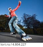 Купить «Женщина на роликах в движении», фото № 4804227, снято 9 октября 2010 г. (c) Станислав Фридкин / Фотобанк Лори