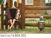 Купить «В русской деревне маленькая девочка играет на баяне», фото № 4804303, снято 15 июня 2013 г. (c) Сергей Ахундов / Фотобанк Лори