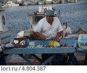 Рыбак продает свой улов на рынке Марселя (2009 год). Редакционное фото, фотограф Александр Элеазер / Фотобанк Лори