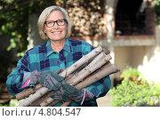 Купить «Улыбающаяся пожилая женщина с дровами», фото № 4804547, снято 26 октября 2010 г. (c) Phovoir Images / Фотобанк Лори