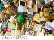 Купить «Замки влюбленных на мосту в Париже. Франция», фото № 4827435, снято 24 июня 2013 г. (c) Екатерина Овсянникова / Фотобанк Лори