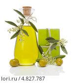 Купить «Оливковое масло и мыло на белом фоне», фото № 4827787, снято 8 мая 2013 г. (c) Ирина Денисова / Фотобанк Лори