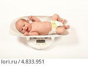 Купить «Младенец лежит на электронных весах», фото № 4833951, снято 8 марта 2011 г. (c) Михаил Трибой / Фотобанк Лори