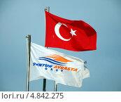 Купить «Флаги Турции и туристического агентства Dentur Avrasya Grup», фото № 4842275, снято 9 января 2013 г. (c) Светлана Колобова / Фотобанк Лори