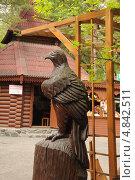 Купить «Резная деревянная скульптура птицы в Новосибирском зоопарке», фото № 4842511, снято 5 июня 2013 г. (c) Иванова Анастасия / Фотобанк Лори