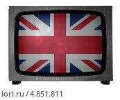 Флаг Великобритании на экране старого телевизора. Стоковая иллюстрация, иллюстратор Клинц Алексей / Фотобанк Лори