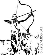 Лучник стреляет из английского лука. Стоковая иллюстрация, иллюстратор Александр Заболотный / Фотобанк Лори