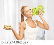 Купить «Стройная девушка выбирает между вредным гамбургером и овощами», фото № 4862527, снято 23 марта 2013 г. (c) Syda Productions / Фотобанк Лори