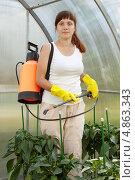 Купить «Женщина распыляет инсектициды в теплице», фото № 4863343, снято 3 июля 2011 г. (c) Яков Филимонов / Фотобанк Лори