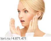 Купить «От удивления девушка разводит руками», фото № 4871471, снято 12 февраля 2011 г. (c) Syda Productions / Фотобанк Лори