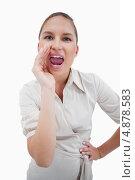 Изображение кричащей бизнес-леди. Стоковое фото, агентство Wavebreak Media / Фотобанк Лори