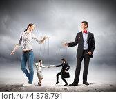 Купить «Двое молодых бизнесменов управляют куклами-марионетками», фото № 4878791, снято 20 сентября 2018 г. (c) Sergey Nivens / Фотобанк Лори