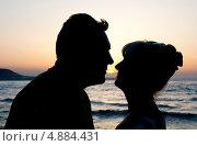 Купить «Силуэт немолодой влюбленной пары на фоне моря», эксклюзивное фото № 4884431, снято 6 июня 2013 г. (c) Куликова Вероника / Фотобанк Лори