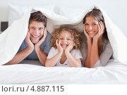 Купить «Счастливая семья позирует под одеялом», фото № 4887115, снято 1 ноября 2011 г. (c) Wavebreak Media / Фотобанк Лори