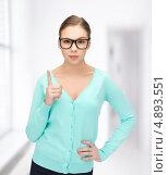 Купить «Симпатичная девушка в голубом джемпере в очках», фото № 4893551, снято 26 февраля 2012 г. (c) Syda Productions / Фотобанк Лори