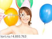 Купить «Счастливая девушка на вечеринке с разноцветными воздушными шарами», фото № 4893763, снято 4 октября 2009 г. (c) Syda Productions / Фотобанк Лори