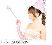 Купить «Счастливая девушка в образе феи с волшебной палочкой», фото № 4893935, снято 4 октября 2009 г. (c) Syda Productions / Фотобанк Лори