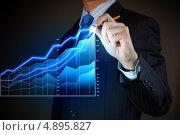 Купить «Коллаж с графиком роста и бизнесменом», фото № 4895827, снято 28 февраля 2013 г. (c) Sergey Nivens / Фотобанк Лори