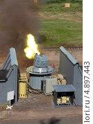 Купить «Испытание скорострельной двенадцатиствольной корабельной пушки на военном полигоне», фото № 4897443, снято 3 июля 2013 г. (c) Игорь Долгов / Фотобанк Лори
