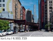 Улица в даун-таун Чикаго, США (2013 год). Редакционное фото, фотограф Ekaterina Shustrova / Фотобанк Лори