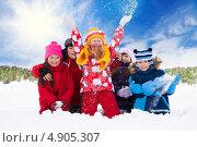 Радостные дети на улице зимой. Стоковое фото, фотограф Сергей Новиков / Фотобанк Лори