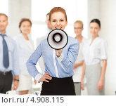 Купить «Счастливая деловая женщина с мегафоном в офисе», фото № 4908115, снято 10 апреля 2012 г. (c) Syda Productions / Фотобанк Лори