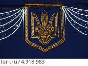 Герб Украины, праздничная иллюминация. Стоковое фото, фотограф Амелия Дадабаева / Фотобанк Лори