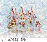 Купить «Рождественская - новогодняя открытка, Город из сновидений многоцветный, акварель», иллюстрация № 4921399 (c) ИВА Афонская / Фотобанк Лори