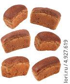 Шесть буханок черного хлеба на белом фоне. Стоковое фото, фотограф Сергей Видинеев / Фотобанк Лори