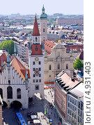Купить «Панорама Мюнхена. Старая ратуша и церковь Святого Духа», фото № 4931403, снято 28 июля 2013 г. (c) Илюхина Наталья / Фотобанк Лори