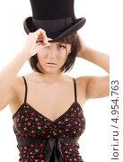 Купить «Роковая брюнетка с каре в черной шляпе», фото № 4954763, снято 25 октября 2008 г. (c) Syda Productions / Фотобанк Лори