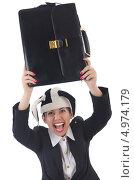 Смеющаяся бизнес-леди в шутовском колпаке с дипломатом. Стоковое фото, фотограф Elnur / Фотобанк Лори