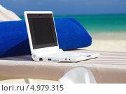 Купить «Счастливая молодая женщина работает за ноутбуком на пляже», фото № 4979315, снято 23 января 2009 г. (c) Syda Productions / Фотобанк Лори