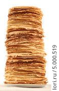 Купить «Очень высокая стопка русских блинов», фото № 5000519, снято 2 декабря 2012 г. (c) Владимир Мельников / Фотобанк Лори