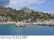 Каменистое побережье Средиземного моря в Турции. Стоковое фото, фотограф Овчинникова Татьяна / Фотобанк Лори