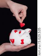 Свинья копилка с сердечками. Стоковое фото, фотограф Наталья Алексахина / Фотобанк Лори