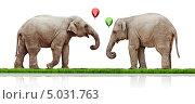 Два слона с воздушными шариками на белом фоне. Стоковое фото, фотограф Виктор Застольский / Фотобанк Лори