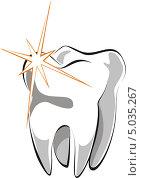Купить «Нарисованный зуб на белом фоне», иллюстрация № 5035267 (c) Робул Дмитрий / Фотобанк Лори
