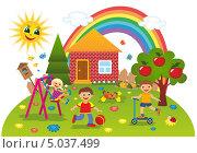 Купить «Дети играют летом во дворе», иллюстрация № 5037499 (c) ivolodina / Фотобанк Лори