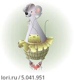 Веселая мышка в клетчатых штанишках и юбке. Стоковая иллюстрация, иллюстратор Марина Дычек / Фотобанк Лори