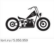 Мотоцикл, монохромная схематичная иллюстрация. Стоковая иллюстрация, иллюстратор Алекс Секрет / Фотобанк Лори
