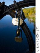 Свадебные замки на железных перилах моста. Стоковое фото, фотограф Денис Антонов / Фотобанк Лори