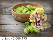Кукла-мотанка и шишки хмеля на деревянном столе. Стоковое фото, фотограф Олеся Сарычева / Фотобанк Лори